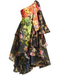 Richard Quinn - One-shoulder Floral-print Organza And Canvas Dress - Lyst