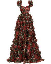 Dolce & Gabbana Robe de soirée en organza de soie à motif géranium - Multicolore