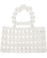 Cult Gaia Cora Top-handle Beaded Acrylic Bag - White