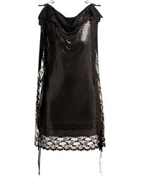 Christopher Kane Lace Trim Chainmail Mini Dress - Black