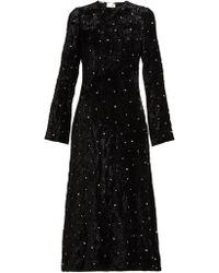 Miu Miu - Crystal Embellished Open Back Velvet Dress - Lyst