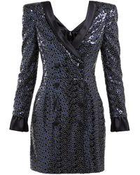 Dundas Sequinned Satin Trimmed Tuxedo Mini Dress - Blue