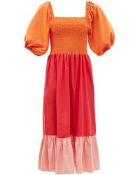 RHODE Eloise Shirred Colour-block Cotton-poplin Dress - Multicolor