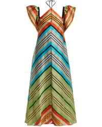 Mary Katrantzou - Kahlo Chevron-stripe Organza Dress - Lyst
