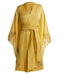 Carine Gilson - - Lace Detailed Silk Satin Kimono Robe - Womens - Light Yellow - Lyst