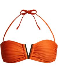 Heidi Klein Casablanca V Bar Ribbed Bikini Top - Orange