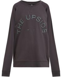 The Upside Embroidered Logo Cotton Jersey Sweatshirt - Gray