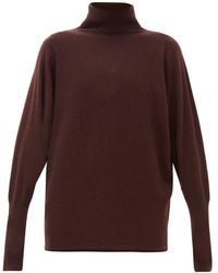 Johnstons Batwing-sleeve Cashmere Roll-neck Sweater - Brown