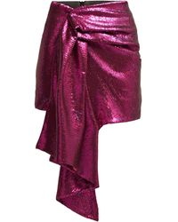 Halpern Draped Sequinned Mini Skirt - Pink