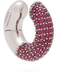 Fendi - F Is Crystal Embellished Hoop Earrings - Lyst