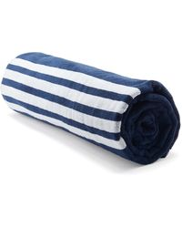 Thom Browne 4-bar And Tri-colour Tag Cotton-terry Towel - Blue