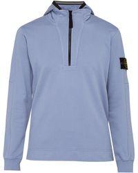 Stone Island - Sweat-shirt en coton à capuche semi-zippé - Lyst