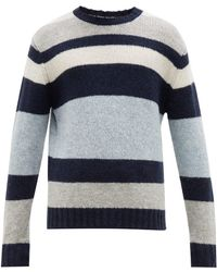 Allude Striped Ribbed Trim Sweater - Gray