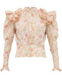 MATTY BOVAN Ruffled Liberty-print Poplin Blouse - Pink