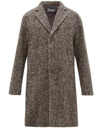Herno Single Breasted Wool Herringbone Overcoat - Brown