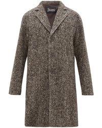 Herno Single-breasted Wool-herringbone Overcoat - Brown
