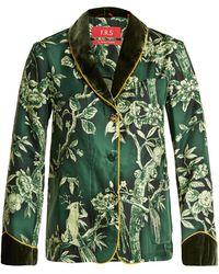 F.R.S For Restless Sleepers - Persefone Velvet Trimmed Silk Twill Pyjama Shirt - Lyst