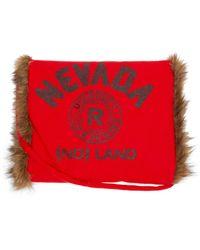 Raf Simons Manchon en laine et imitation fourrure Nevada - Rouge