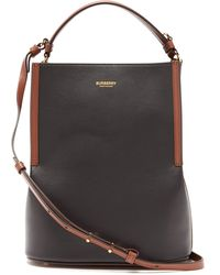Burberry Small Two-tone Leather Peggy Bucket Bag - Black