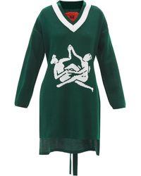Thebe Magugu Sisterhood-intarsia Longline Sweater - Green
