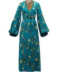 Adriana Iglesias フローラル シルクラップドレス - ブルー