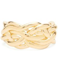 Bottega Veneta Woven 18kt Gold-plated Sterling-silver Cuff - Metallic