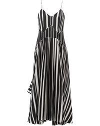 Victoria Beckham - Vネック ストライプ シルククレープドレス - Lyst