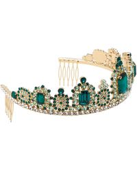 Dolce & Gabbana Diadème à ornements cristaux - Vert