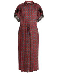 Preen Line Willow Checked Crepe Dress - Red