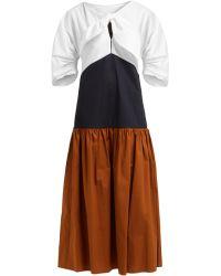 Isa Arfen Summer Holiday Contrast Panel Cotton Dress - White