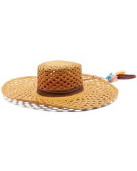 House of Lafayette - Reed 1 Feather Trimmed Straw Panama Hat - Lyst