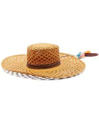 House of Lafayette - Reed 1 Feather-trimmed Straw Panama Hat - Lyst