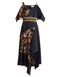 Peter Pilotto - Off The Shoulder Fig Print Silk Dress - Lyst