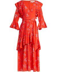 Borgo De Nor - Aiana Dragon Print Crepe Dress - Lyst