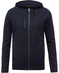 FALKE Zipped Jersey Hooded Sweatshirt - Blue