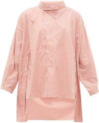 Palmer//Harding Palmer//harding ミアド ストライプ アシンメトリーシャツ - ピンク