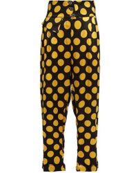 Duro Olowu - Large Polka-dot Print Silk-satin Cropped Trousers - Lyst