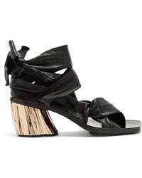 Proenza Schouler - Ankle-tie Block-heel Leather Sandals - Lyst