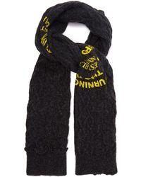Raf Simons Logo-print Cable-knit Wool Scarf - Gray