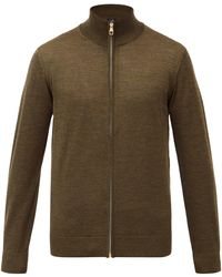 Dunhill ハイネック ジップアップ ウールセーター - マルチカラー