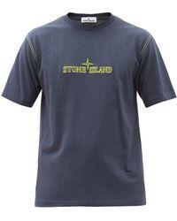 Stone Island Logo-embroidered Cotton-jersey T-shirt - Blue