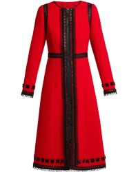 Andrew Gn - Lace-trimmed Wool-crepe Coat - Lyst