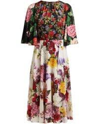 Dolce & Gabbana Rose And Hydrangea-print Silk-charmeuse Midi Dress - Black