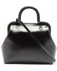 Jil Sander Logo-debossed Medium Top-handle Leather Handbag - Black