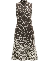 Ferragamo ノースリーブ シルクツイルドレス - マルチカラー