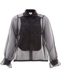 Noir Kei Ninomiya Flounced Cuff Front Bib Organza Blouse - Black