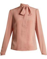 Rochas | Tie-neck Pleated Silk Blouse | Lyst