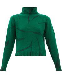 The Elder Statesman Lightning Cropped Tie-dyed Cashmere Jumper - Green