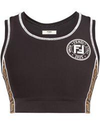 Fendi - Black Ff Monogram Strap Sports Bra By - Lyst