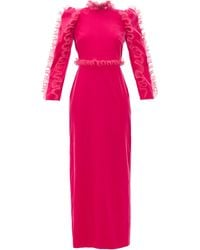 Givenchy Organza-ruffle Long-sleeve Velvet Gown - Pink